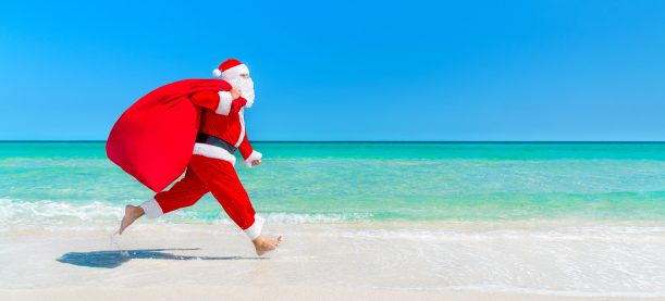 Santa on the beach.